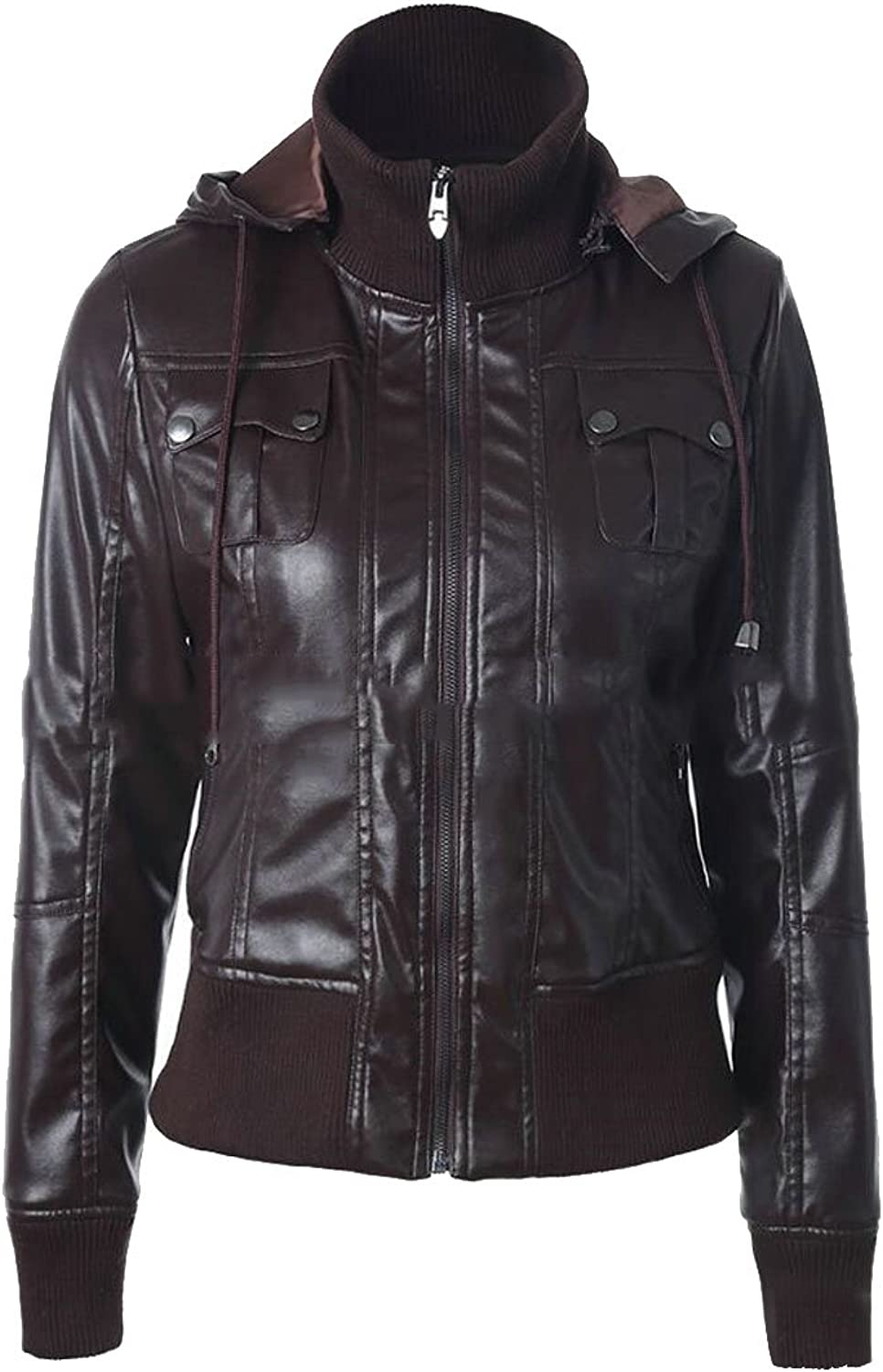 Fllay Womens Drawstring Biker Outdoor Zipper Motorcycle Faux Leather Jacket