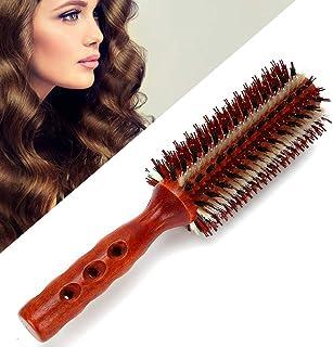 Cepillo redondo, cepillo de pelo redondo, cepillo de peine de pelo rizado de madera cerdas de jabalí cepillo de peinado de pelo rizado profesional cerdas de cepillo cepillo de pelo de estilo redondo