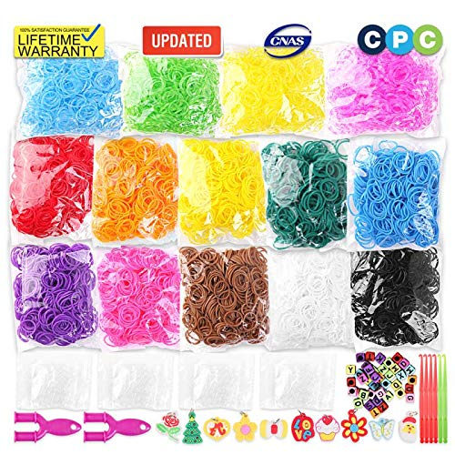 MIHU 6900+ Rubber Bands Bracelet Kit, 2021 New Loom Bands in 14 Colors- Great Gift for Handicraft Lovers & Kids. No Loom Board Included
