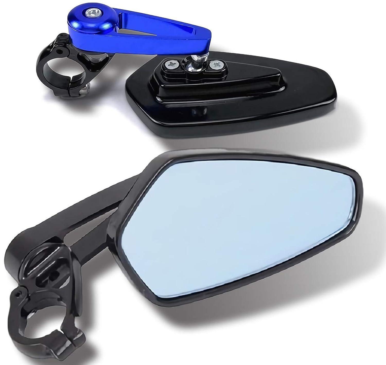 (アグロス) 汎用 バーエンド ペンタゴン ミラー バイク オートバイ 左右 2個 セット 五角形 カスタム (02 ブルー)