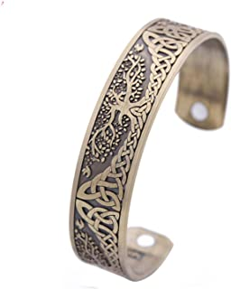 Tree of Life Yggdrasil Cuff Bangle Celtic Knot Work Magnetic Magneto Therapy Viking Ethnic Bracelet Jewelry
