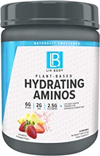 LIV Body   LIV Plant Based Hydrating Aminos   6g of BCAA, 2g of EAA & 2.5g of Glutamine   Coconut Water Powder for Advance...