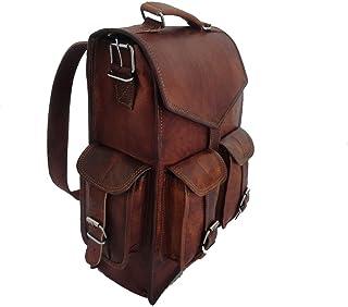 """15"""" leather backpack Laptop Messenger Lightweight School Bag Rucksack Sling Men"""