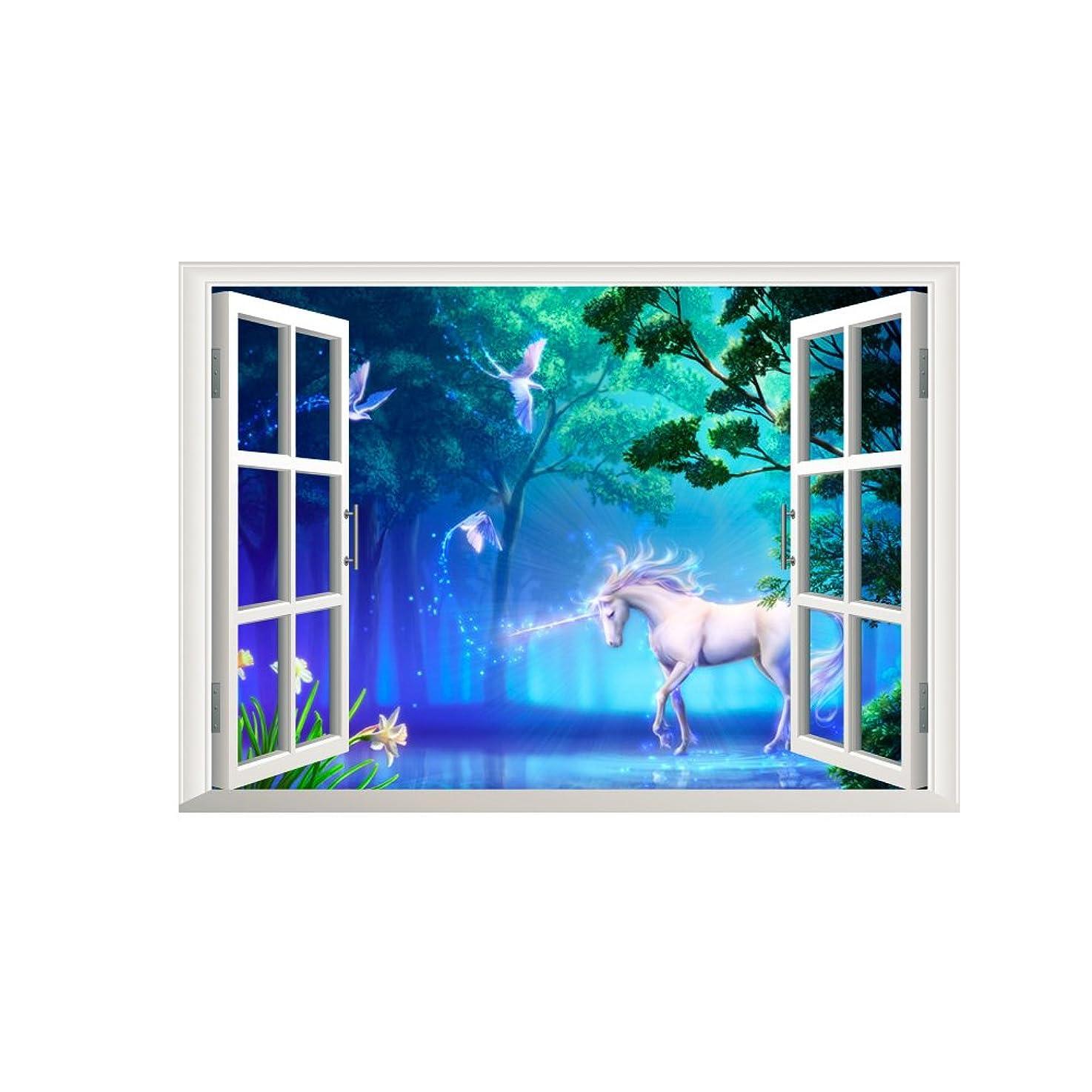 Winhappyhome Unicorn Fake Window Wall Art Decals for Kids Room Nursery Background Decoration Sticker
