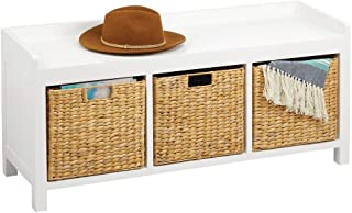 mDesign banc entrée – meuble a chaussure élégant pour l'entrée ou d'autres pièces – banc coffre pratique en bois avec 3 pa...