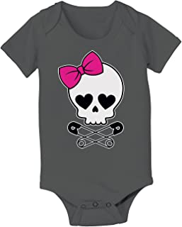 Skull Bow Safety Pin Hearts Rock Novelty-Baby One Piece