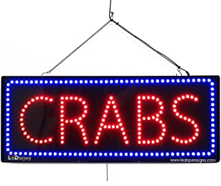 Large LED Window Sign - Crabs - Extra Bright, Can be seen Through Tinted Windows - 32 inches Wide - ON/Off/Flashing Mode (#2677)