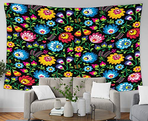 Pamime Art Tapestry, Home Decor Tapestry Polish Folk Art Flal Pattern Wzy Lowickie Wycinanki Black Background Dorm Room Bedroom Living Room 80X60 Inches(200X150Cm) Bedspread Inhouse