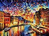 TAHEAT Pittura a Olio Fai-da-Te con Kit di Numeri Paesaggio, Kit di Pittura acrilica Fai-da-Te per Adulti, Pittura a Olio su Tela con Numeri 40x50 cm - Notte di Venezia Colorata Senza Cornice