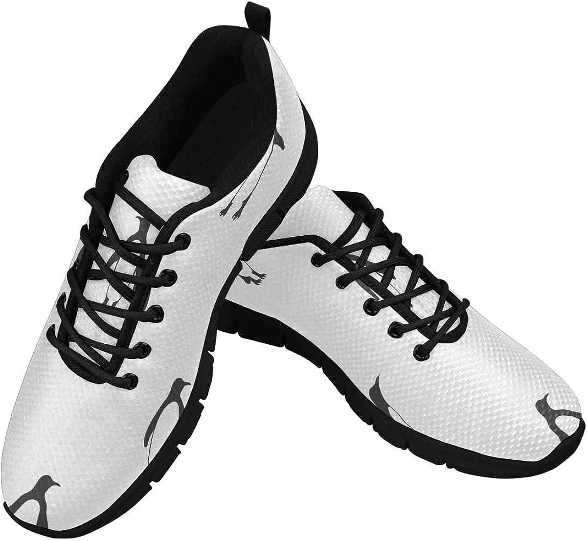 INTERESTPRINT Penguins Pattern Women's Lace Up Running Comfort Sports Sneakers