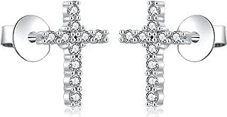 Cross Stud Earrings Sterling Silver Cubic Zirconia Religious Cross Earrings Stud for Women and Men