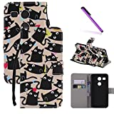 LG Google Nexus 5X Case,LEECOCO Fancy Paint Floral Pattern Wallet Case with Card / Cash Slots [Kickstand] Shockproof Premium PU Leather Flip Stand Case Cover for LG Nexus 5X - Many Black Cats