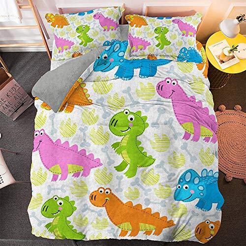 Hbvvaceo Bedding Duvet Cover 3D HD Cartoon animal dinosaur Print Quilt Polyester Fiber Suitable for Men and Women Kids (King 240 x 220 cm) Children's bedding set-baby bedding set