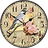 TAHEAT Birds and Flowers Pattern Wall Clock, Silent Non Ticking Floral Clocks, Wooden Round Battery Operated Easy to Read Wall Clocks for Kitchen/Living Room/Bedroom/Dining Room Decor, 14 Inch