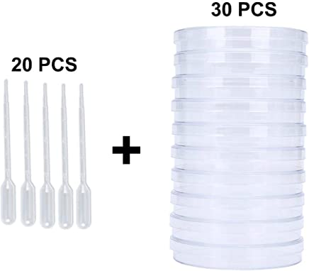 Young4us Petri Dish Set with Lids Pack of 24 Biology Experiment 12 Pack Sterile Petri Plates in 3 Sizes with 12 Pack 3ml Plastic Dropper Pasteur Pipettes for Lab Microbiology Studies
