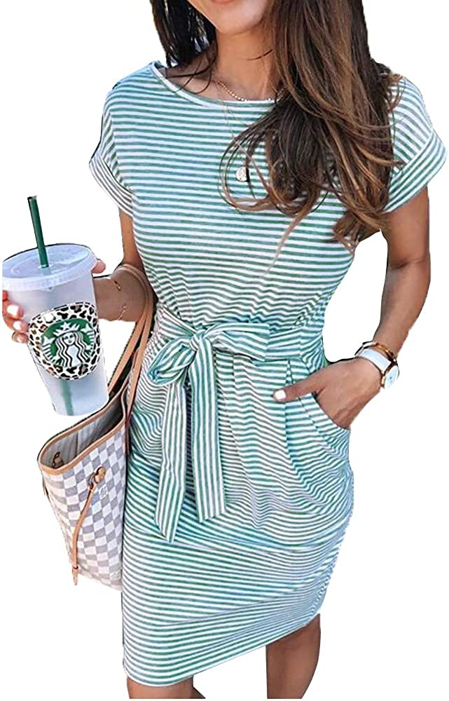 Felstar Womens Summer Striped Short Sleeve T Shirt Dress Casual Tie Waist with Pockets