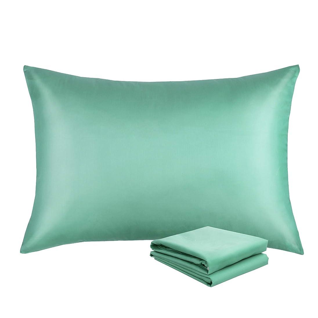 織る混合した確執NTBAY 枕カバー, ピロケース, 高級綿100%, ファスナー開閉式, 抗菌防臭, 防ダニ加工, 2枚含め(43cmx63cm) (シアン)