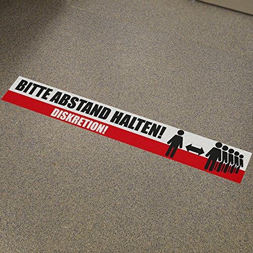 Fußbodenaufkleber Bitte Abstand halten Diskretion 80x12cm Aufkleber Bodensticker