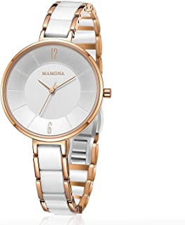 MAMONA Women Watch Wrist Watch with Stainless Steel Case, Quartz Watches Ceramic and Stainless Steel Bracelet Waterproof for Women