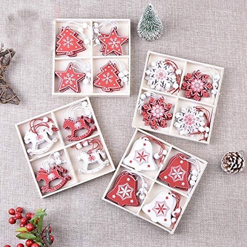 SONGHJ 48 Piezas 5cm Árbol De Navidad Adornos De Madera Colgantes Adornos De Árbol De Navidad Adornos Decoración De Navidad para Familias Regalos De Año Nuevo