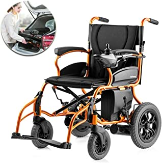 LHBNH Comfortable Wheelchair Folding Power Electric Wheelchair, with 18AH Polymer Lithium ion Battery, Ultra-Portable Power Folding seat Electric Scooter for Disabled Persons