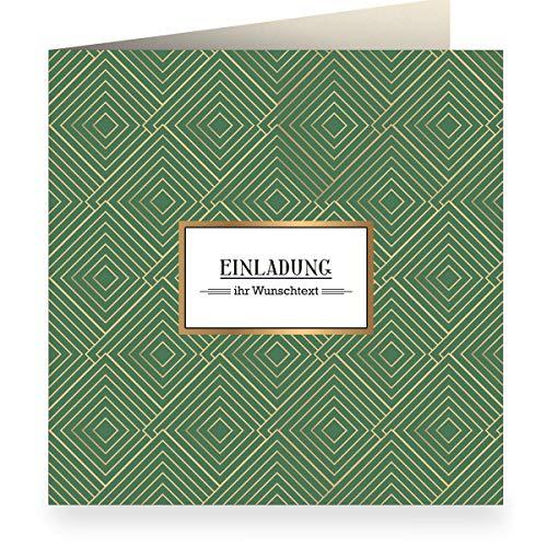 3x Edle grafische Einladungskarte mit Wunschtext, grün zur Taufe, Geburtstag mit Innendruck (quadratisch 15,5cm + Umschlag) mit Art Deco Muster: Einladung- große XL Karte