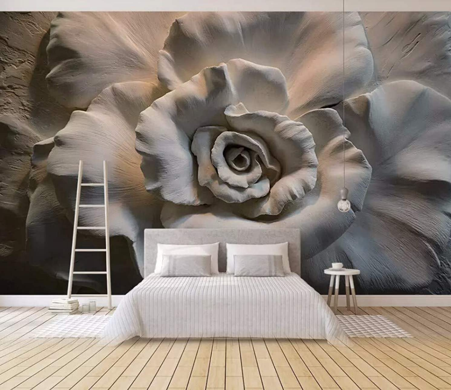 Wall Mural 3D Wallpaper Embossed Rose Vintage Modern Wall Paper for Living Room Bedroom Tv Wall Decor