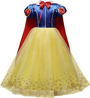 OBEEII Blancanieves Disfraz con Capa Snow White Carnaval Traje de Princesa Cuentos Infantiles para Halloween Navidad Fiesta Ceremonia Aniversario Cosplay Costume para Niñas Chicas 3-8 Años