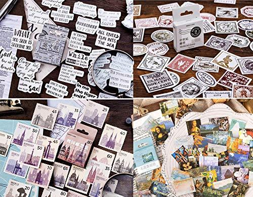 4 cajas Pegatinas Tema de sello Corte de papel de periódico, sello,...