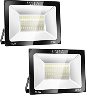 2 Pack SOLLA 150W LED Flood Light, IP66 Waterproof, 12000lm, 800W Equivalent, Super Bright Outdoor Security Lights, 6000K Daylight White, Outdoor Floodlight for Garage, Garden, Lawn and Yard
