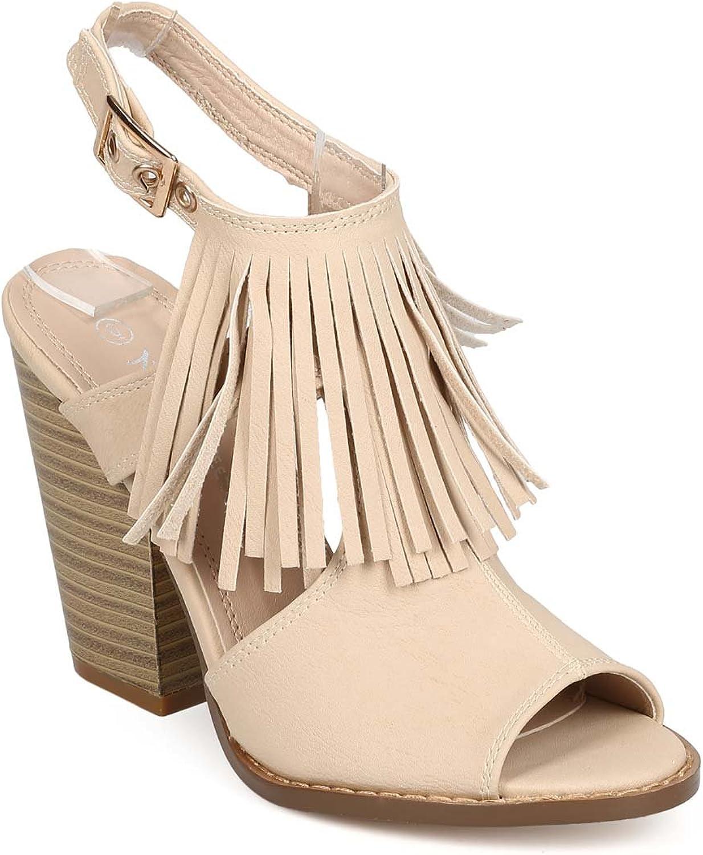 Nature Breeze EB10 Women Leatherette Peep Toe Fringe Block Heel Slingback Mule - Beige