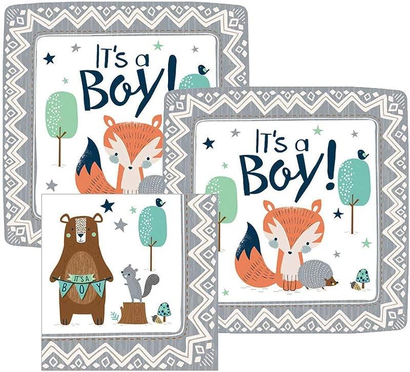 It S A Boy Woodland Baby Shower Paper Dessert Plates And Paper Napkins 16 Servings Bundle 3 Items