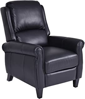 Giantex PU Leather Recliner Chair Push Back Club Living Room Seat Furniture w/Footrest (Black)
