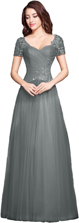 JudyBridal Women Elegant FloorLength Tulle Evening Dresses with Appliques
