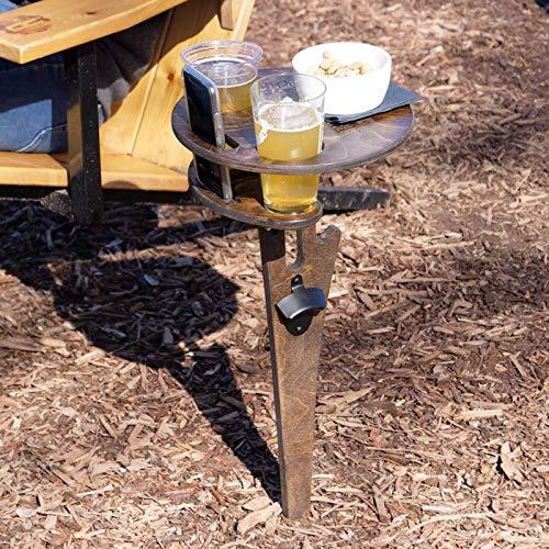 FeiliandaJJ Weintisch im Freien, Outdoor Tragbar Bier Wein Tisch, Holz Rund Klappbar Weintisch Camping Picknick, Zusammenklappbarer Picknicktisch für Außenbereich Garten Strand Party (Braun)
