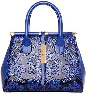 Trendy Ladies Fashion Ethnic Style Handbags Versatile Shoulder Bag Large Capacity Messenger Bag Retro Handbag Zgywmz (Color : Blue, Size : 29 * 13 * 22cm)