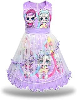 Pandamo Girls Tutu Tulle Princess Dress Doll Digital Print Sleeveless Gown Dress for Doll Surprised