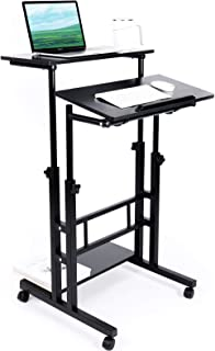 Zytty Mobile Standing Desk, Adjustable Computer Desk Rolling Laptop Cart on Wheels for Home Office, Tall Table for Standin...