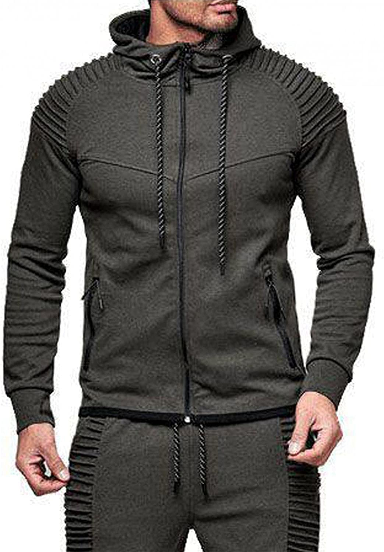 Huangse Sweatshirts for Men Plain Zipper Athletic Sweatshirt Long Sleeve Drawstring Workout Sweatshirts Gym Hooded Tops