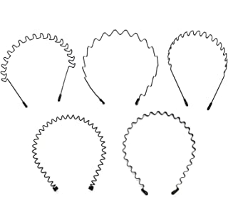 Buorsa 5 in 1 Five PCS Spring Wave Metal Hair Band Girl Men's Hoop Head Band Accessory