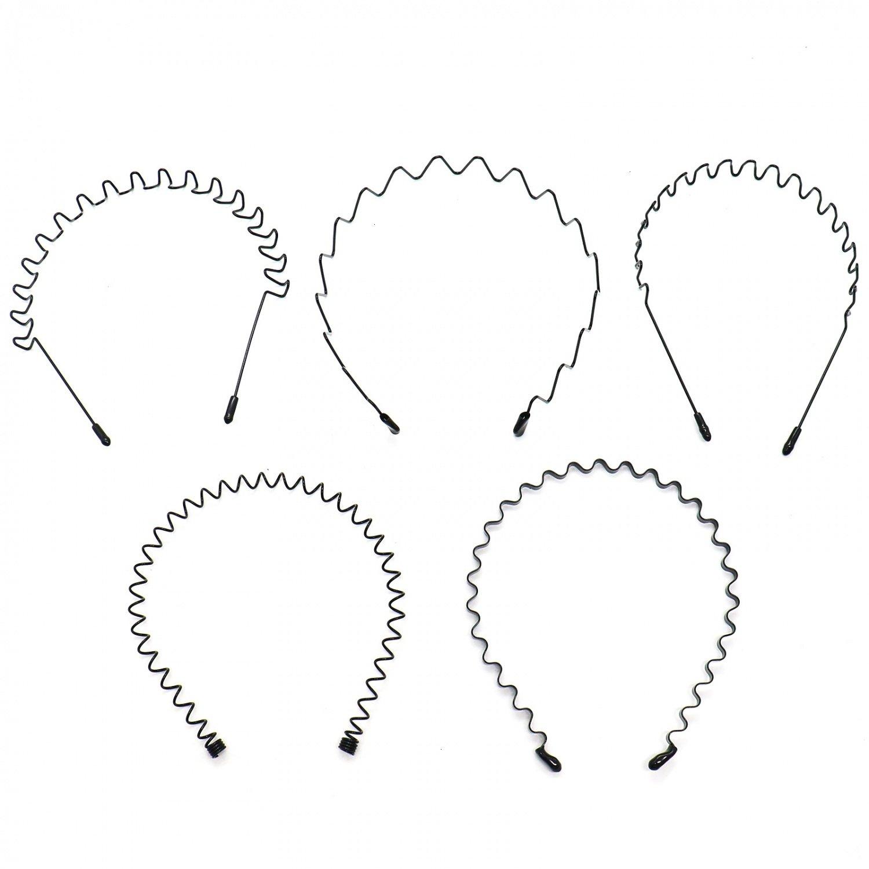 Buorsa 5 in 1 5ピース春波状メタルヘアバンドガールメンズリングヘッドバンドアクセサリー