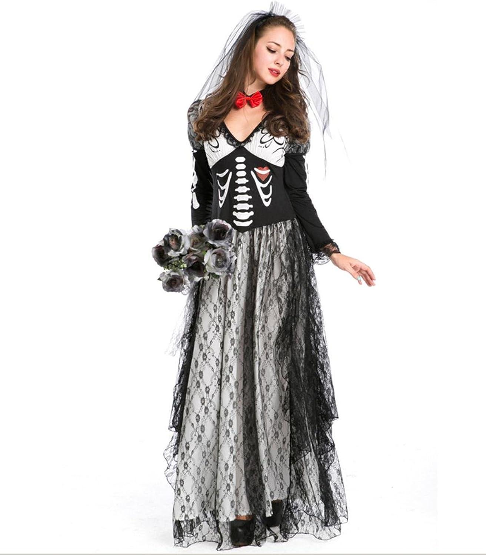 DuuoZy Frauen Skeleton Druck Leiche Ghostly Braut Kostüm Cosplay Party Fancy Dress Set