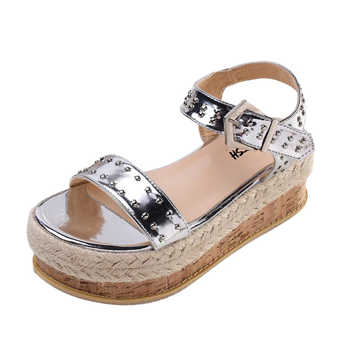 Thick-Soled Sandals,HOSOME Summer Women's Thick-Soled Sandals Belt Buckle Flat Sandals Rivet Beach Shoes