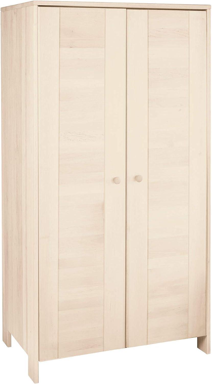 BioKinder 23217 Niklas Schrank Kinder-Kleiderschrank aus Massivholz Kiefer wei lasiert 170 x 90 x 55 cm