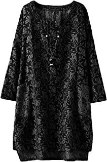 Women's Long Sleeve Hi-Low Pullover Jacquard Ethnic Style Tunic Tops