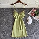 CIDCIJN Camisón De Pijama De Mujer - Rayon Sling Nightgowns Encaje Camisón Mujeres Sexy Pijama Verano Sleepdress Profundo V-Neck Sleepwear Backless Soft Homewear,Green,L