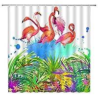ランドスケープシャワーカーテン花フラミンゴ滝緑の植物防水バスルームの装飾ホームバスタブポリエステルカーテン - 180X230CM