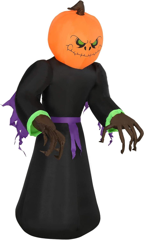 HOMCOM 7ft Ranking TOP2 Tall Inflatable Halloween Up Yar Reaper Indefinitely Pumpkin Light