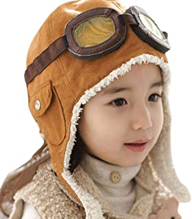 Peicees Aviator Hat Fleece Warm Cap Cute Fashion Winter Pilot Hat with Earmuffs for Baby Kids Boys Girls
