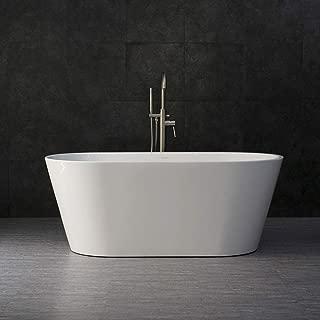 WOODBRIDGE BTA 1514 Acrylic Freestanding Bathtub Contemporary Soaking Tub with Brushed Nickel Overflow and Drain, BTA1514, 59